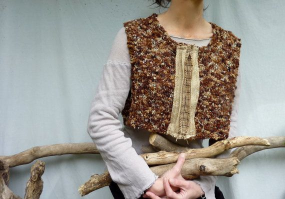 Woodlander Bodice with Harris Tweed detail, hand knitted crop top, READY TO SHIP