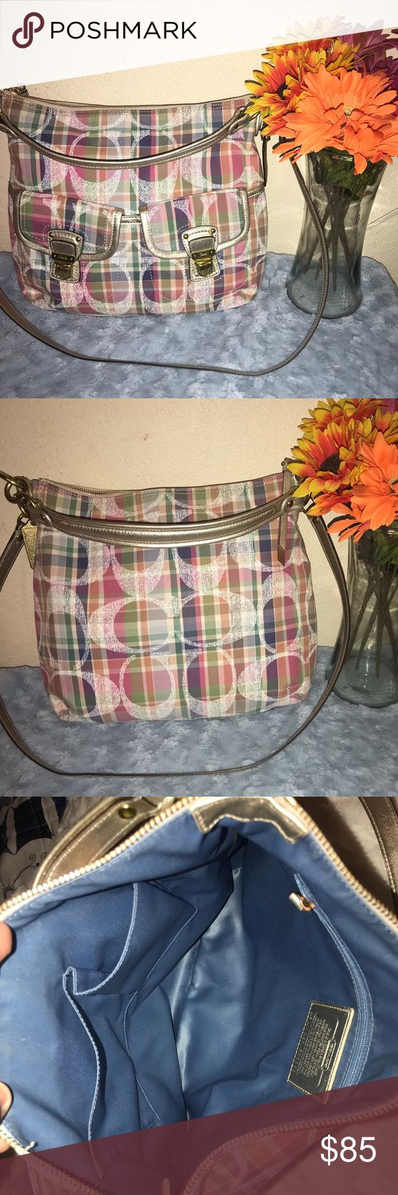 Final Price Reduction Coach Poppy Madras Hobo Great conditions inside and out please view all pictures and ask any questions Coach Bags Hobos