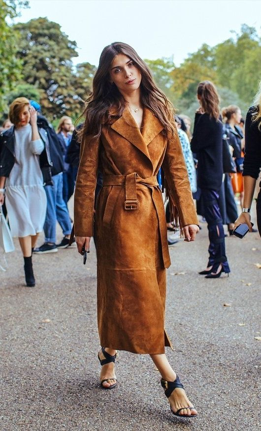 Dreamy suede trench coat at Milan Fashion Week.