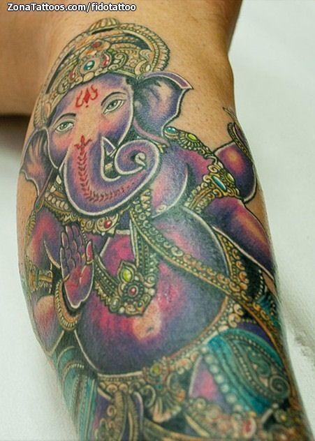 Foto tatuaje Ganesha, Religiosos
