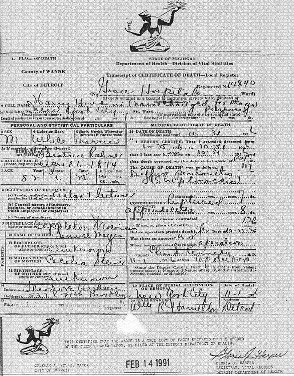 harry houdini tribute: certificate of death. age 52. died on october