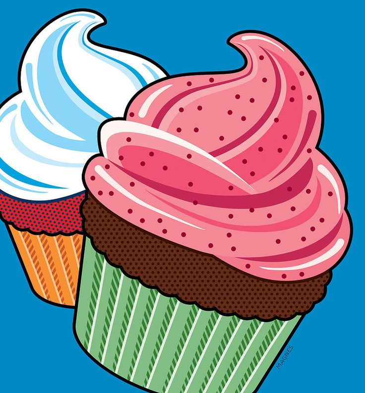 Pop Art Digital Art - Cupcakes On Blue by Ron Magnes