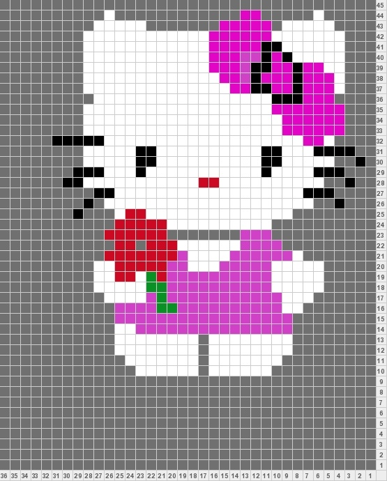 Hello Kitty hama perler beads pattern
