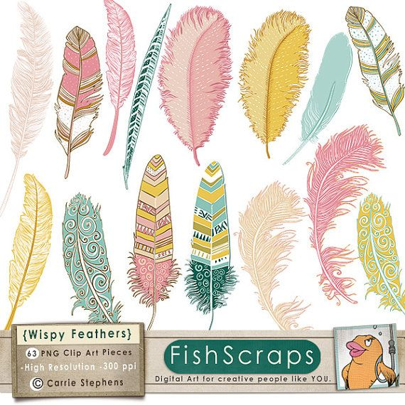 Feather Clip Art - Wispy Pink, Teal & Yellow - Digital ClipArt - Feather Illustration - Instant Download - Commercial on Etsy, $5.22