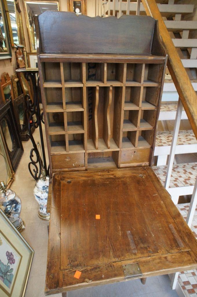 Antique Rustic Drop Front Secretary Desk Cabinet Post Office Cubbies  Primitive   The Designers Consignment - - Antique Post Office Desk Antique Furniture