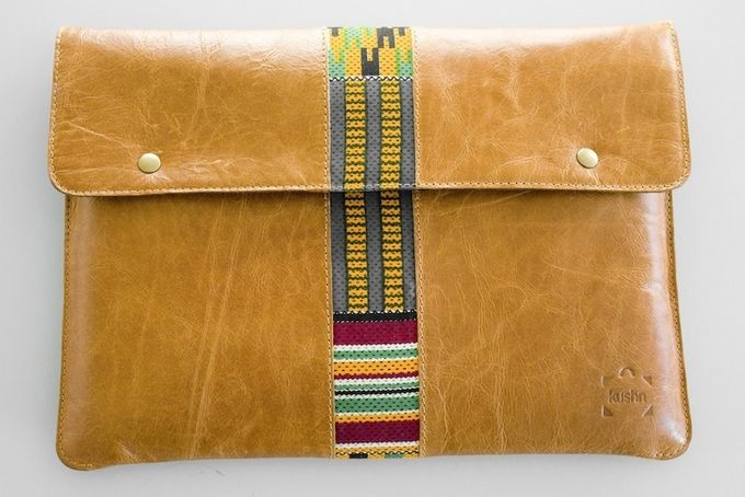 13 inch leather and kente cloth laptop sleeve by Kushn