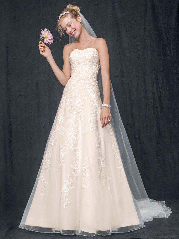 Style V3587 Sweetheart Tulle A Line Gown With Lace Liques I David S Bridal