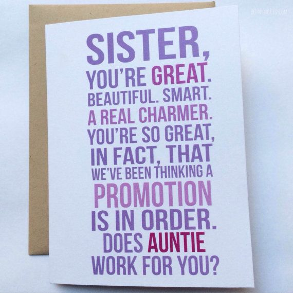 New Aunt Card - First Time Aunt - Baby Announcement - Family Baby Announcement…