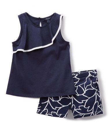 Loving this Navy Ruffle Tank & Shorts - Infant, Toddler & Girls on #zulily! #zulilyfinds