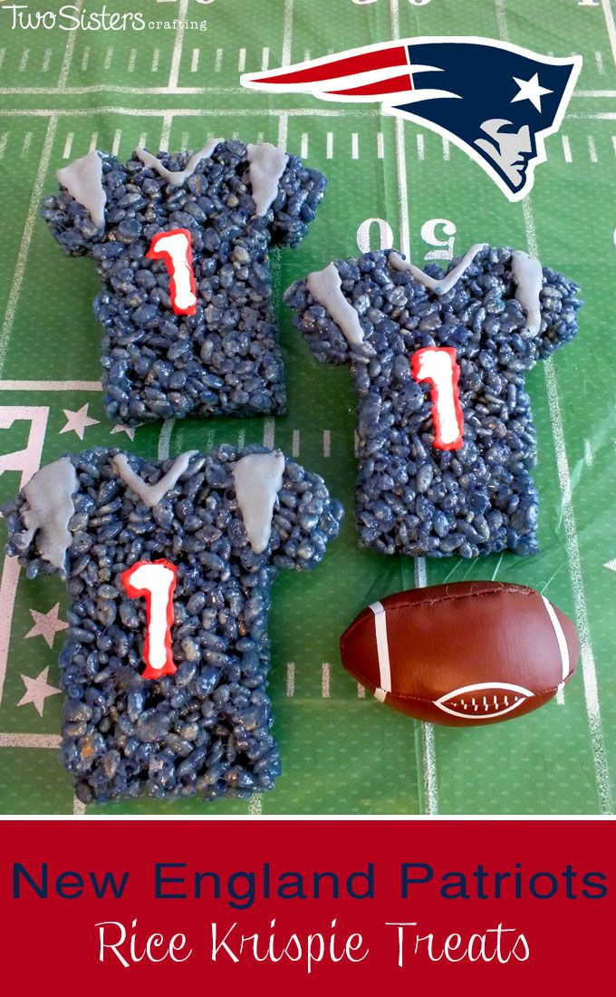 These New England Patriots Rice Krispie Treats Team Jerseys are a fun dessert for a game day football party, an NFL playoff party, a Super Bowl party food or as a special snack for the  New England Patriot's fans in your life.  For more fun Rice Krispie Treats ideas follow us at http://www.pinterest.com/2SistersCraft/