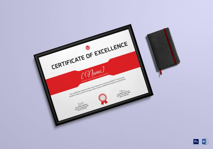 Shooting Excellence Certificate Template  $9.99  Formats Included : MS Word, Photoshop  File Size : 11.69x8.26 Inchs #Certificates #Certificatedesigns #Excellencecertificates