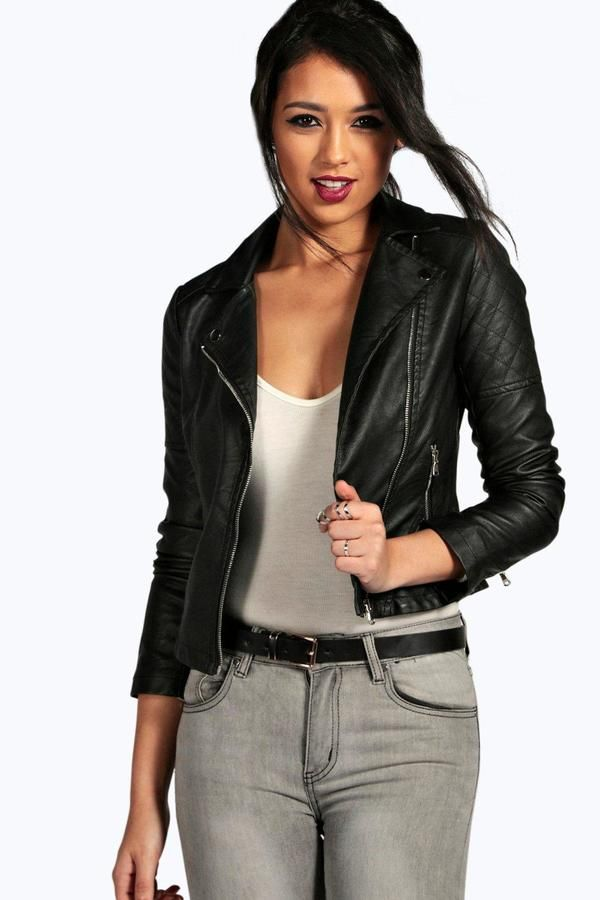 boohoo Torah Vegan Leather Biker Jacket