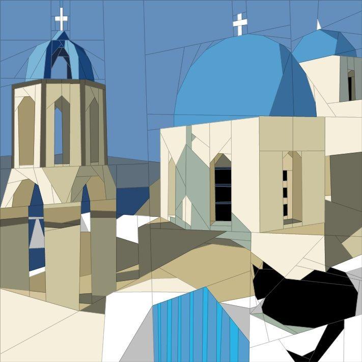 June BOM - Santorini, Greece Paper Piecing Patterns quiltartdesigns.blogspot.com