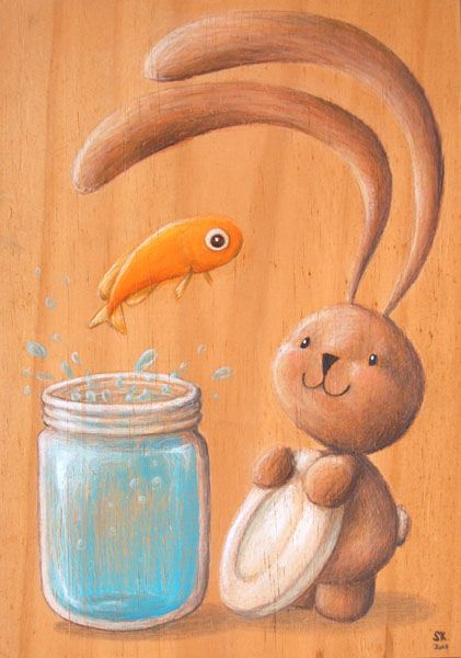 Bunny Ciacio and the goldfish in a light blue mason jar. Original painting on recycled wood, by Sarah Khoury
