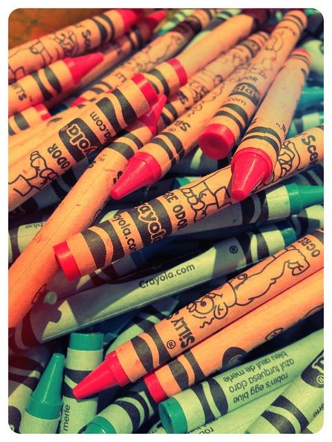 Orange and aqua  At the Crayola store