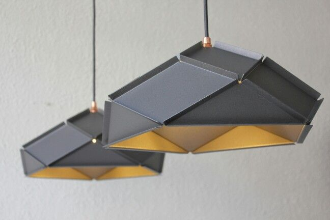 Solid Lampshades with a diameter of approx. 35cm in the color iron grey with copper details by Romy Kühne Design.
