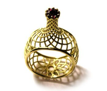 'Twist' ring by DAVID GOODWIN-UK in 18ct gold with ruby: