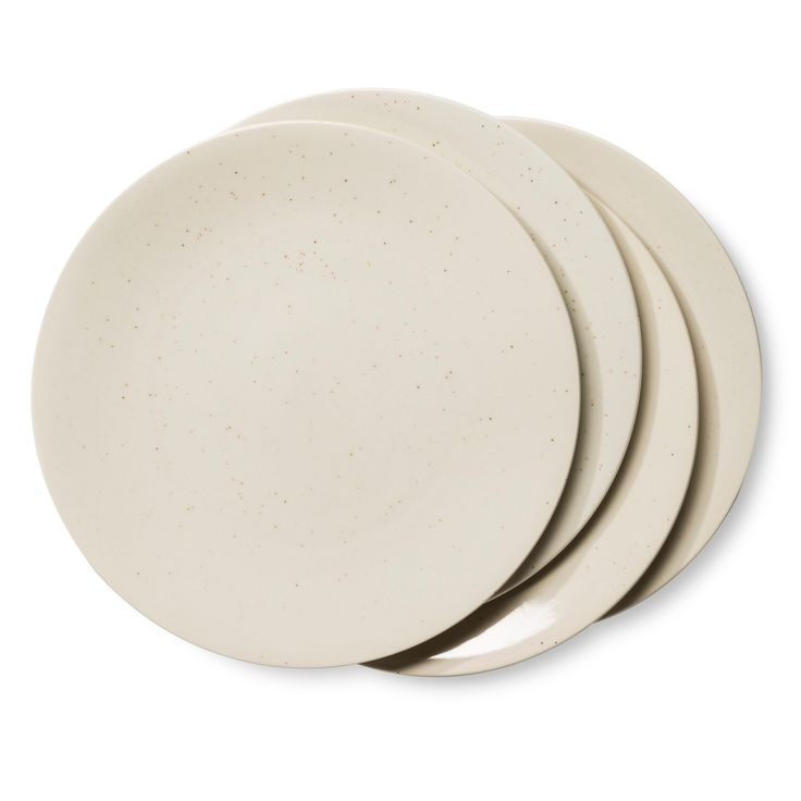 • Made of stoneware<br>• 10.75 inches in diameter<br>• Dishwasher and microwave safe<br>• Set of 4<br><br>Neutral can still have style, as proven by the Rhys Speckled Shiny Dinner Plate in Stoneware Set of 4 Beige from Threshold. This plate set has a speckled glaze for added interest.