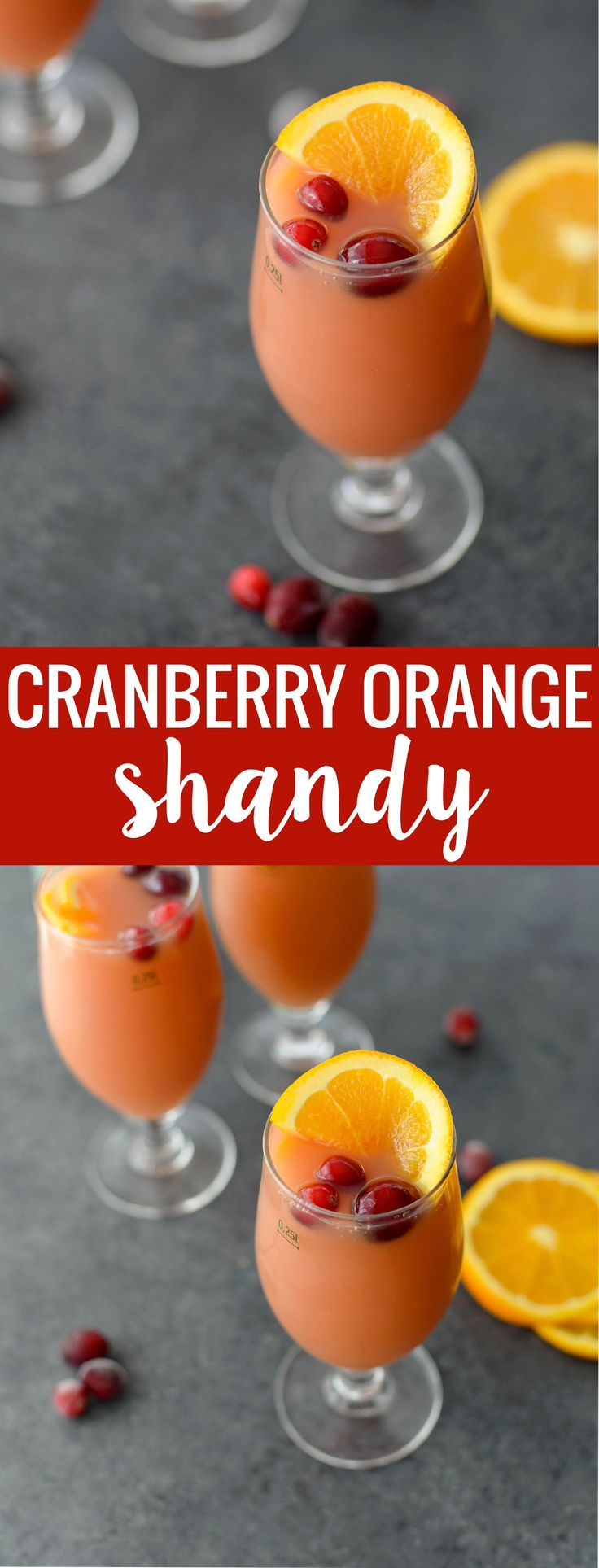 Cranberry Orange Beer Shandy! You've gotta try this three ingredient cocktail, perfect for holiday and christmas entertaining. Refreshing, delicious and can easily be made into pitchers for parties. | www.delishknowledge.com #cocktailrecipes