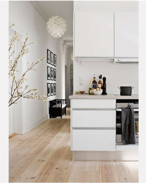 Like floor texture & color with white. Just enough black to ground it and add sophistication