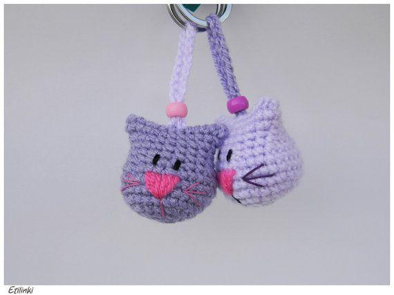 Crochet Cat Keychain-Handmade Gift for Cat Lover-Animal Amigurumi Charm Kitty Keyring-Purple Cat Head Embroidered-Cool Key Holder-Katze Gato