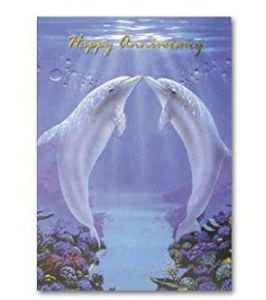 Happy Anniversary Greeting Card, Kissing Dolphins
