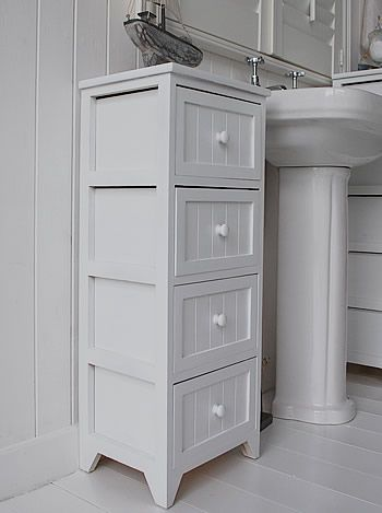 side view of the white tall bathroom storage cabinet