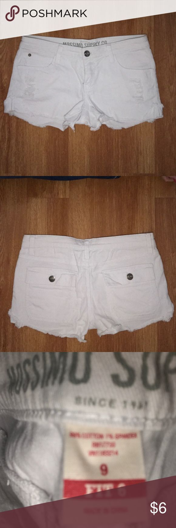 Mossimo White Jean Short Cutoffs Mossimo white cutoff Jean shirt shorts. Gently used, good condition other than barely noticeable stain on bottom cuff as shown in picture above. Mossimo Supply Co. Shorts Jean Shorts