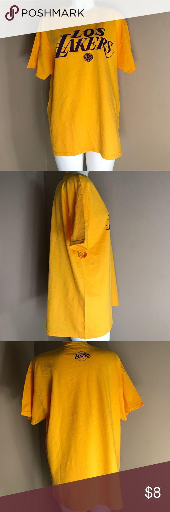 "NBA Los Angeles Lakers Los Lakers T-Shirt NBA Los Angeles Lakers Los Lakers T-Shirt in Gold and Purple Length 32"" Tops Tees - Short Sleeve"