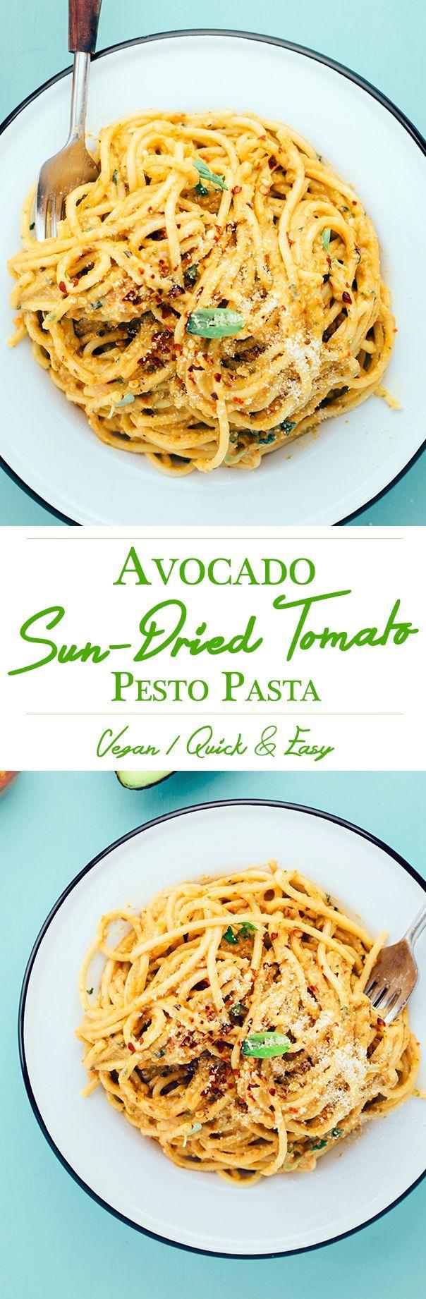 Vegan Avocado and Sun-dried Tomato Pesto Pasta.