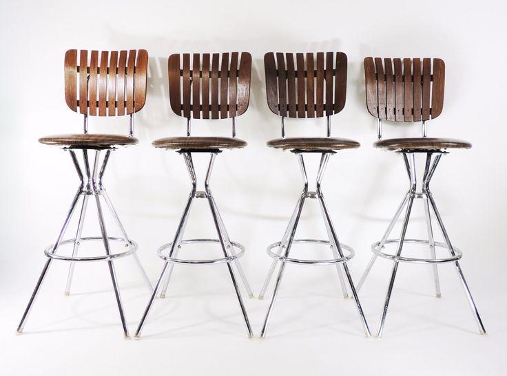 Винтажный хромированный металл решетчатые древесины поворотные столешницы барный стул   eBay