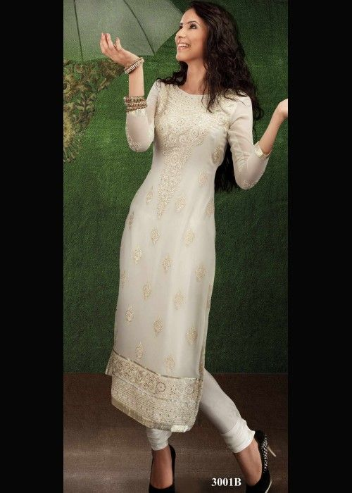 White Georgette Festive Wear Salvar Suit . Shop at - http://gravity-fashion.com/16497-white-georgette-festive-wear-salvar-suit.html