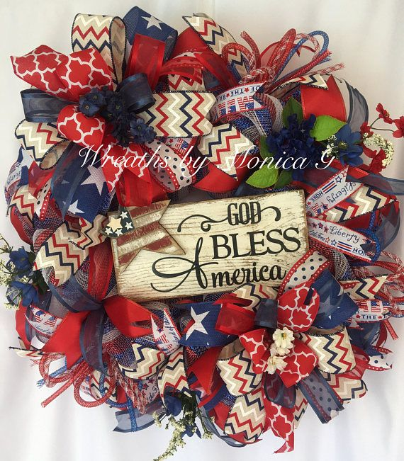 Deco Mesh patriotic Wreath, God bless America Wreath, Red, White and Blue Wreath, Summer Front door wreath, Summer Wreath, Religious wreath This Deco Mesh patriotic wreath will demonstrate your spirit for our wonderful country . Reflect your gratefulness with this beautiful wreath