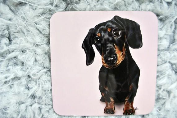 Cute Pink Dachshund Coasters Ideal For Any Sausage Dog Lover