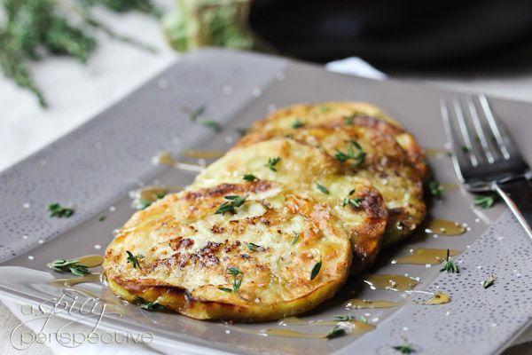 Sauteed Eggplant with Honey and Thyme  Wow, this was really delicious. Just had it with dinner and everyone raved. ***I soaked in vanilla almond milk, used gluten free all purpose flour and fried in coconut oil.***  @ ASpicyPerspective.com