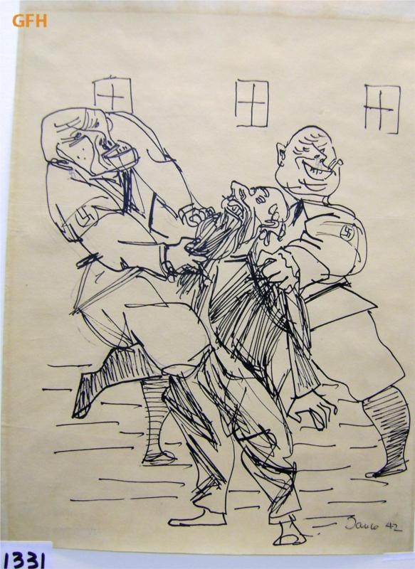 Two Nazi Soldiers Abusing a Jew and Tearing Out his Beard - Marcel Janco - WikiPaintings.org