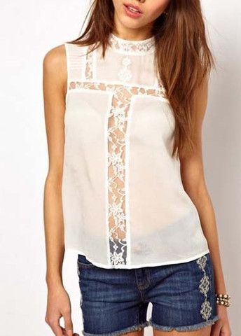 Special Round Neck Semi Sheer White Tops with Lace – teeteecee - fashion in style