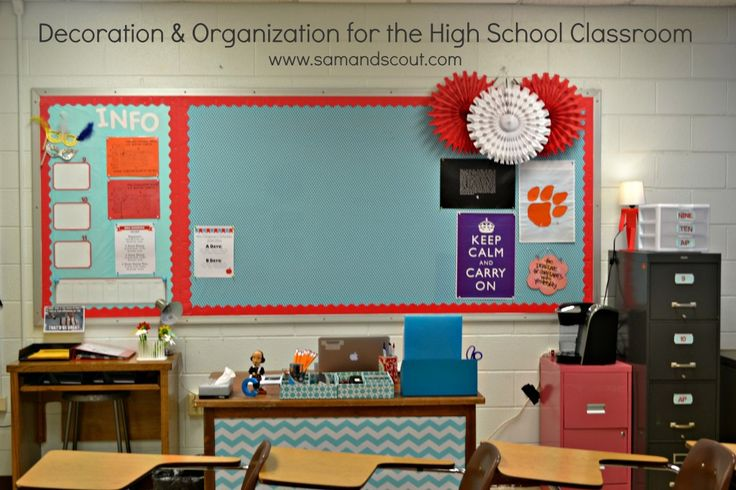 """Decoration Organization for the High School Classroom. This links to a wonderful high school teacher's blog """"Sam & Scout"""""""