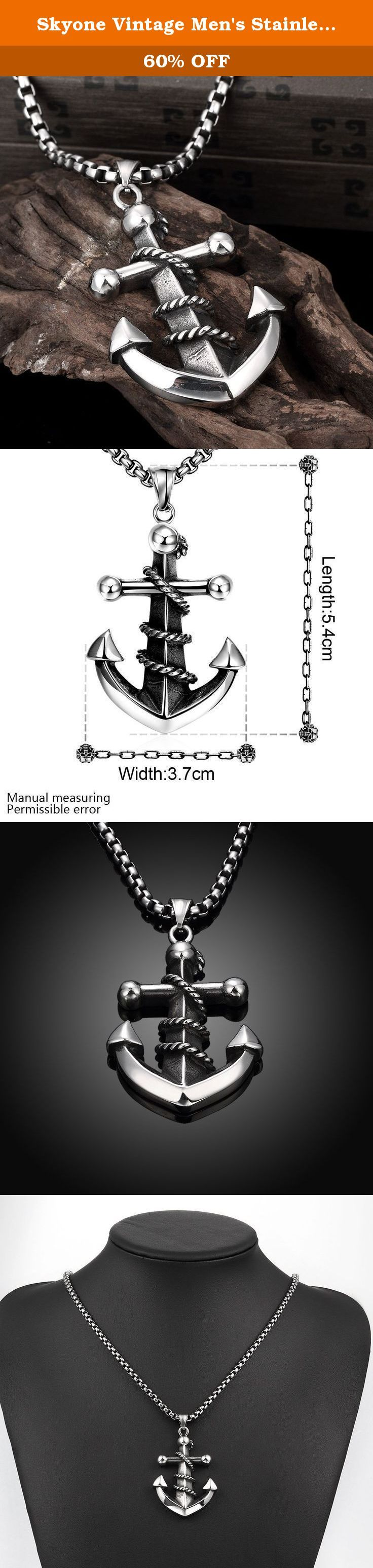 "Skyone Vintage Men's Stainless Steel Large Rope Anchor Nautical Pendant Necklace Charm Biker 24"" Chain. Skyone Vintage Men's Stainless Steel Large Rope Anchor Nautical Pendant Necklace Charm Biker 24"" Chain This beautiful jewelry necklace will add charm to you Basic Characteristics Style:Retro Punk Condition:100% brand new Metal: Stainless Steel Finishing:Polished and Blackened Chain: Curb Chain Clasp:Lobster Claw Pendant Dimension: 5.4cm(2.1inch)x3.7cm(1.5inch) Chain length:60cm(24inch)..."