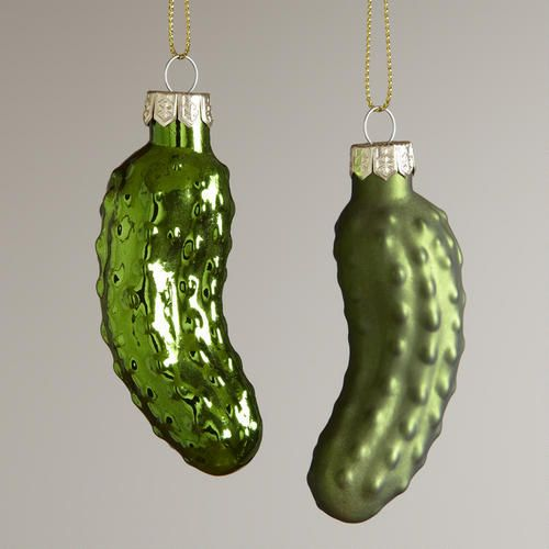 Glass  Pickle Ornaments,  Set of 2