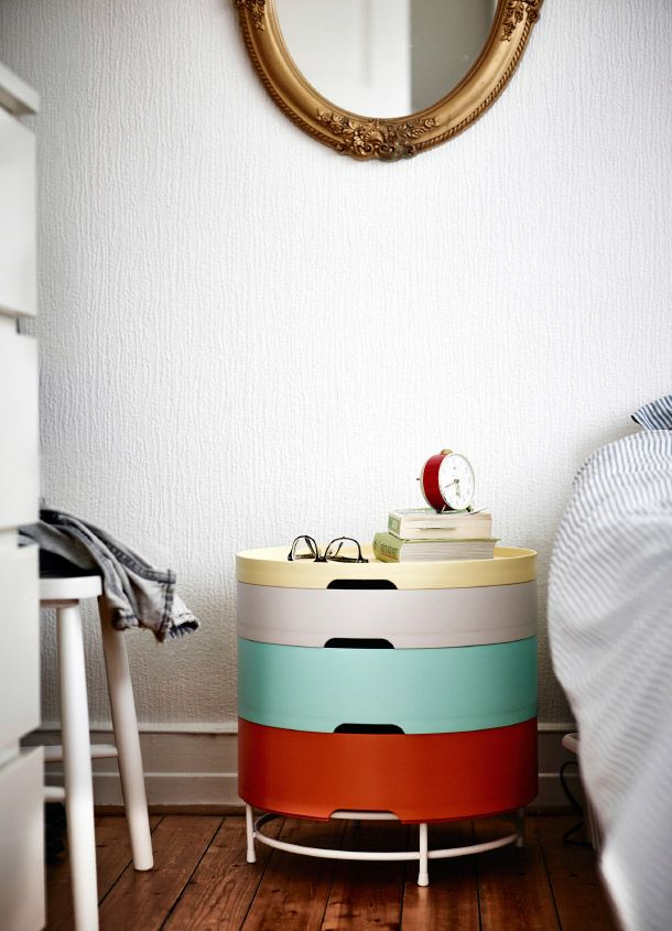 This IKEA PS 2014 storage unit is not only perfect for keeping everything from music books to TV snacks in separate, detachable compartments, the sections also work as serving trays and the whole unit works great as a bedside table.