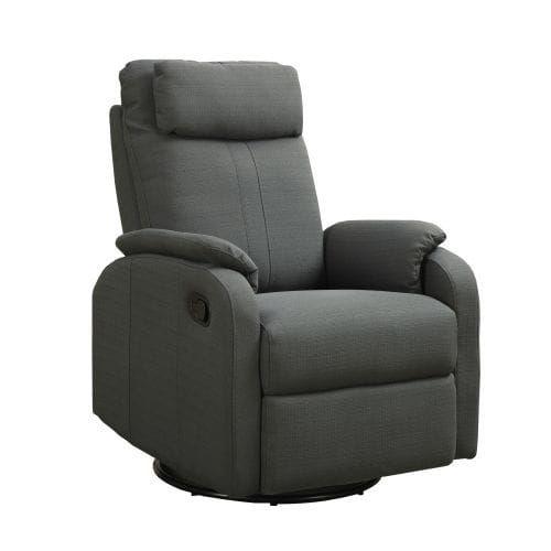 Monarch Specialties Linen swivel rocker recliner I Linen Fabric Swiveling and Rocking Recliner, Multi (Leather)