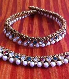 Maroon Green Stones Pearl Payal or Anklet- Ethnic Indian Bollywood Jewelry b158 shop online