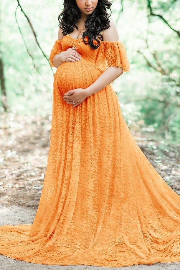 Off Shoulder Lace Maternity Photoshoot Dress Elegant Maternity Dresses Photoshoot Dress Lace Dress Long