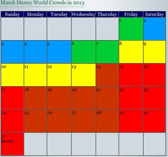 "I love ""Dad's Guide to WDW"" Crowd Calendars.  It's so easy to see which days should be avoided at the parks."