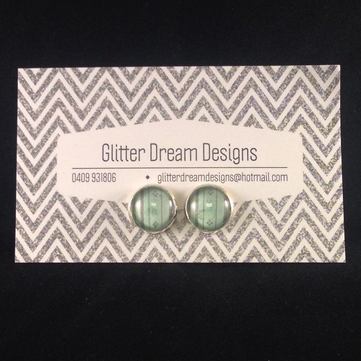 Order Code D21 Green Cabochon Earrings