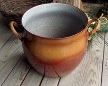 Vintage Enamel Stockpot - French Vintage Large Pot - Brown Enamelware - Granitware Inside - Rustic Flower Vase - French Country Decor