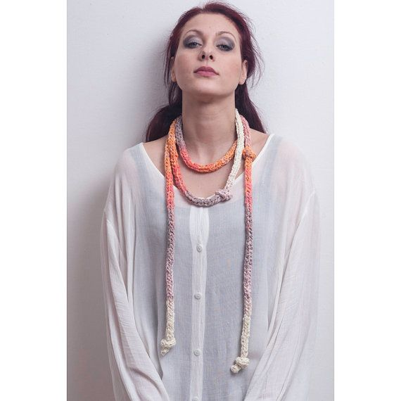 Long Necklace Scarf Handknitting in Pastel Shades on Etsy, ฿2,112.68