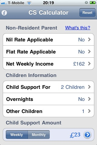 UK Child Support Calculator iPhone and iPad app by A