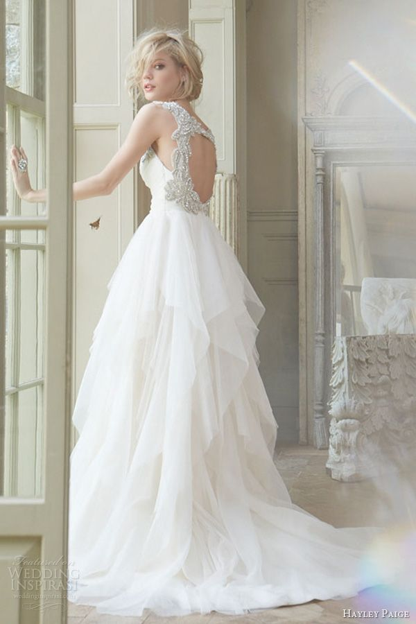 hayley paige fall 2013 bridal english net a line draped sweetheart tiered crystal straps keyhole skirt style 6350